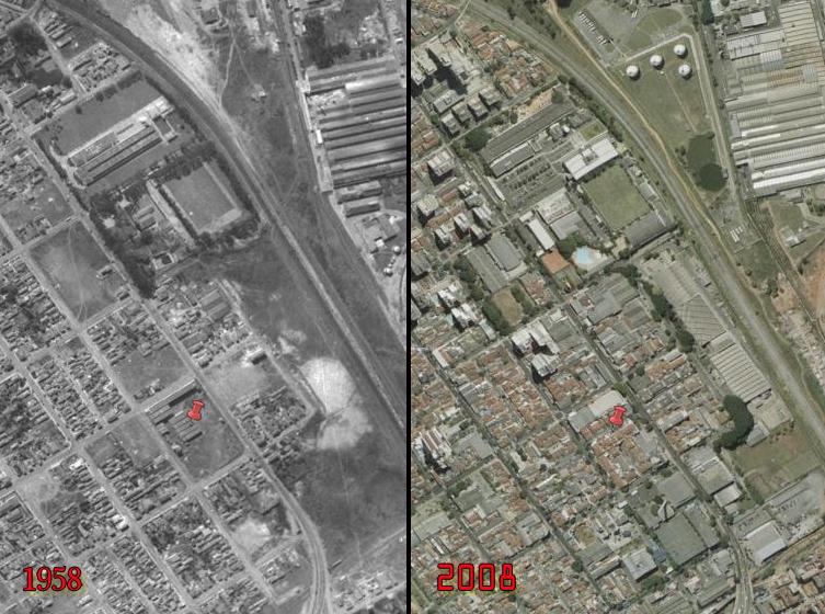 Foto aérea comparativa 1958 e 2008